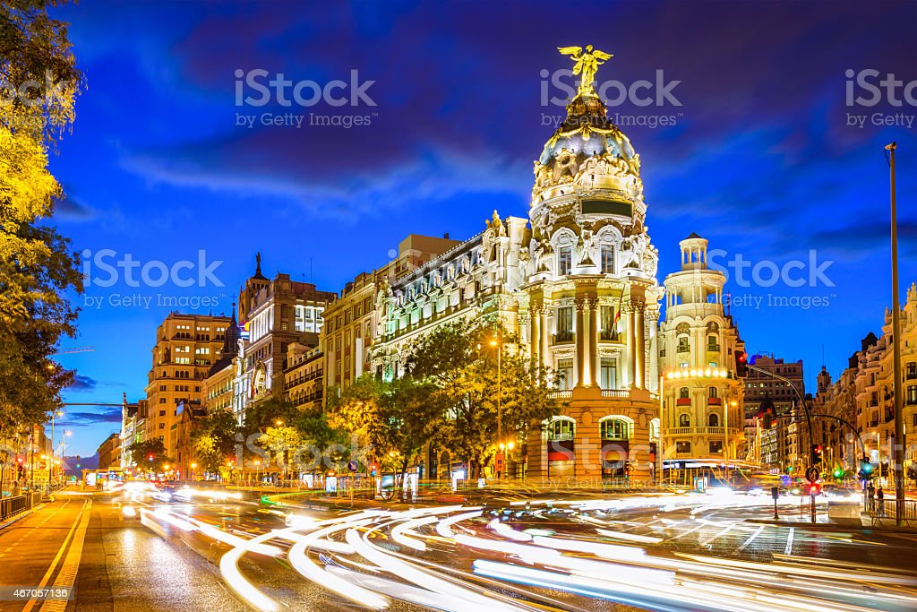 Madrid Spain at Gran Via stock photo