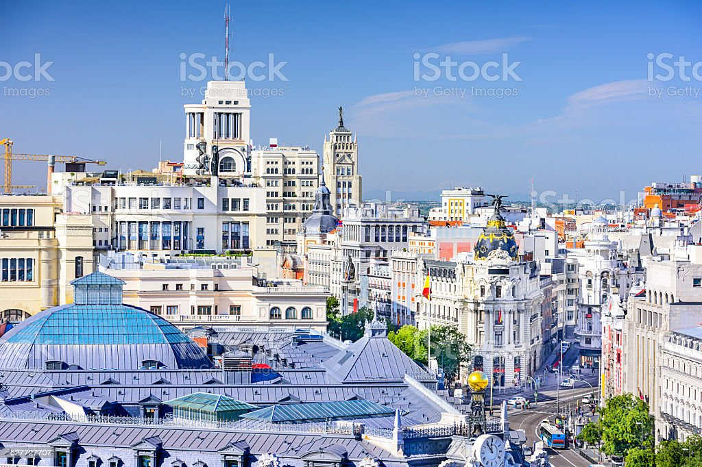Madrid, Spain Cityscape stock photo