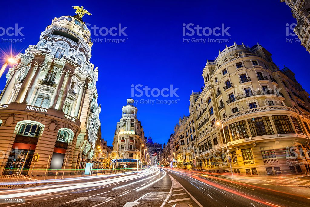 Madrid, Spain Gran Via Cityscape stock photo