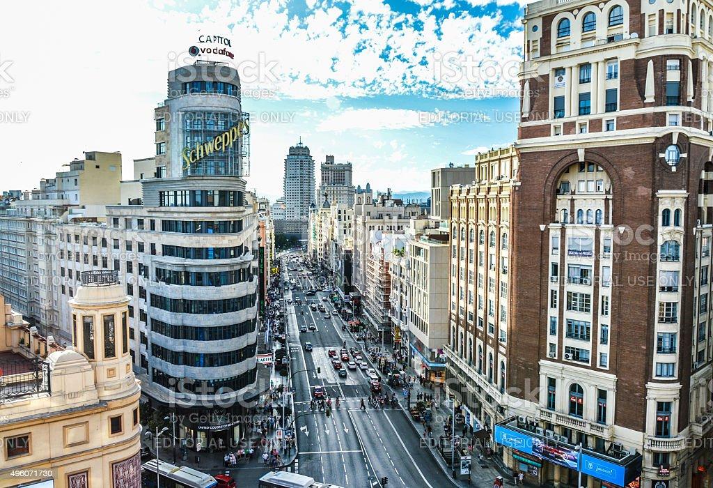 Madrid, Spain - Gran Via stock photo