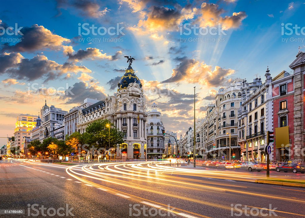 Madrid Spain on Gran Via royalty-free stock photo