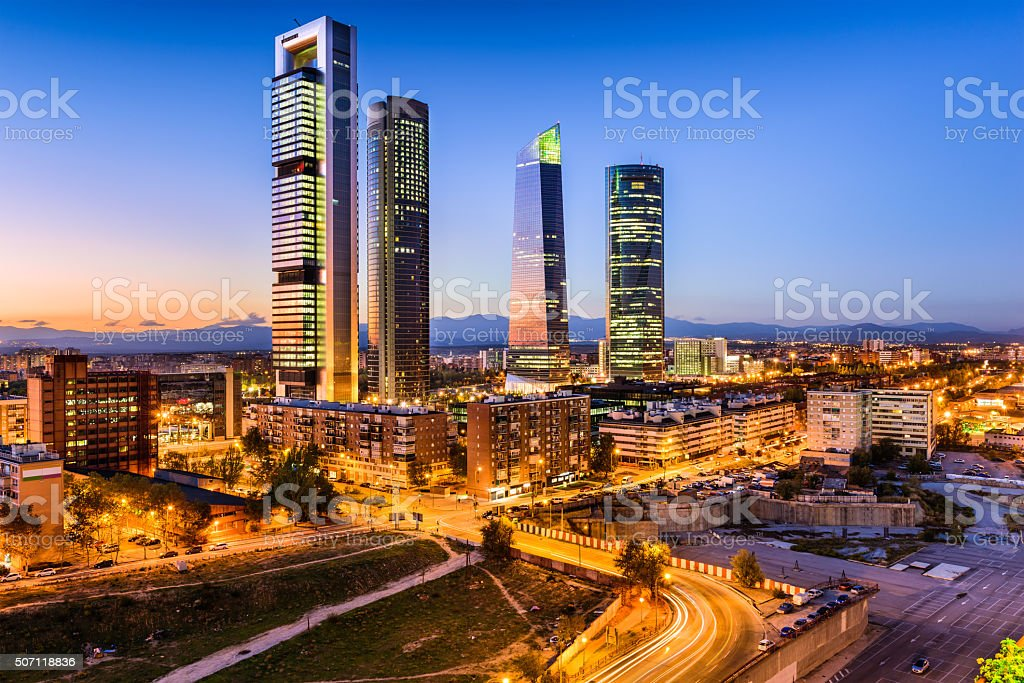 Madrid Spain Skyline stock photo