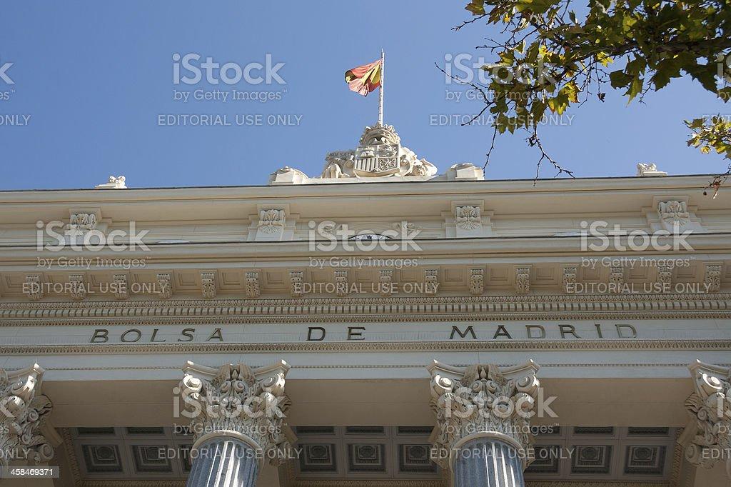 Madrid Stock Exchange, sign on main facade,  Retiro District stock photo
