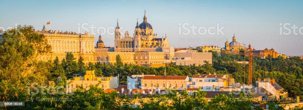 Madrid sunset panorama view to Catedral de la Almunda Spain stock photo