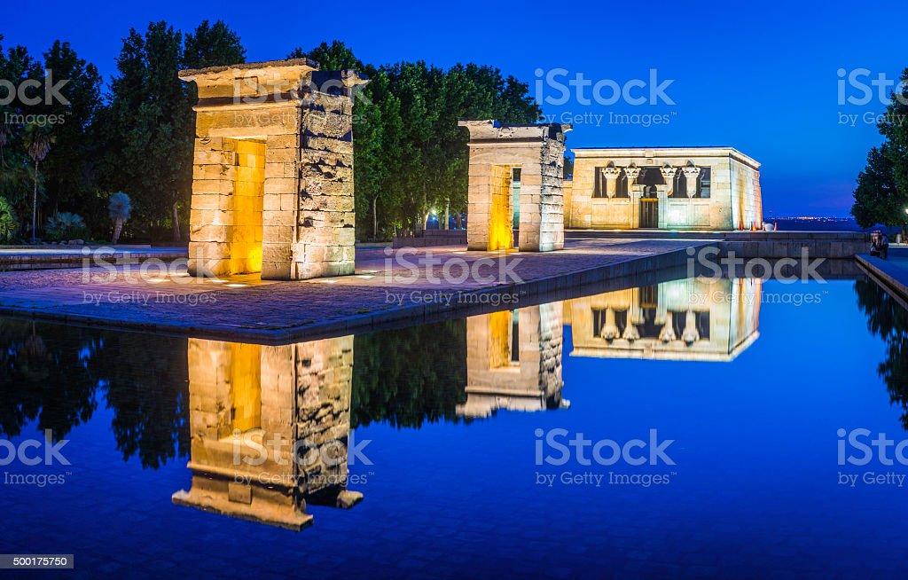 Madrid Temple de Debod illuminated in Parque del Oeste Spain stock photo