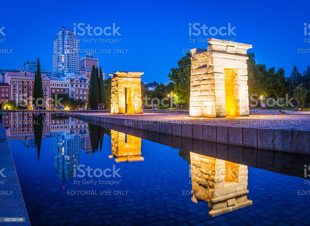 Madrid tourists in Parque del Oueste Temple de Debod Spain stock photo