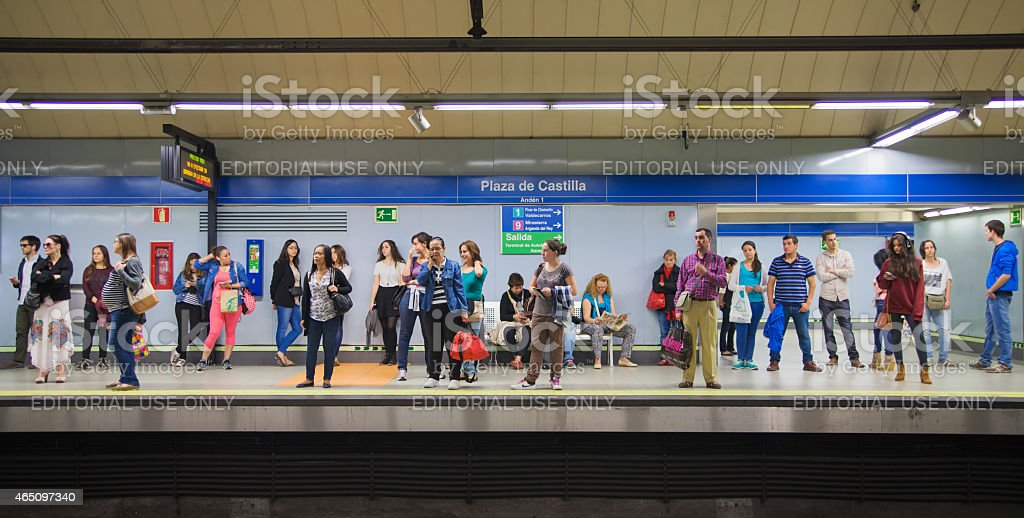 Madrid tube, underground station with commuters stock photo