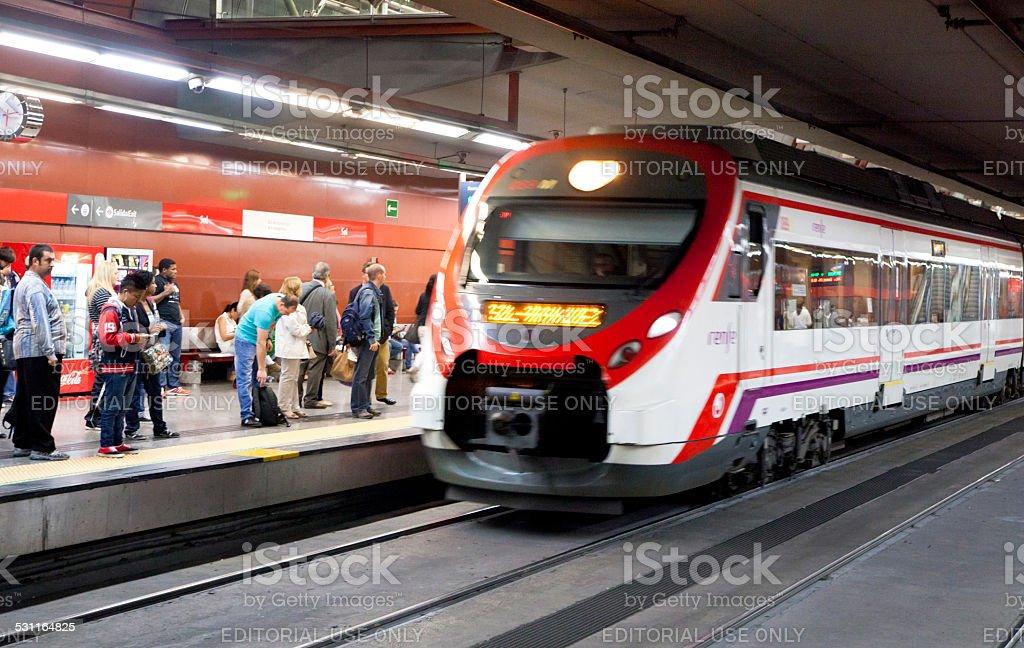 Madrid tube, underground station with commuters stock photo