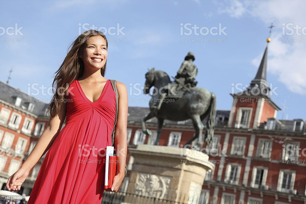 Madrid - Woman on Plaza Mayor royalty-free stock photo