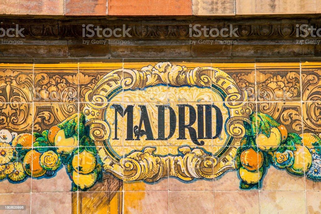 Madrid written on ceramic tiles stock photo