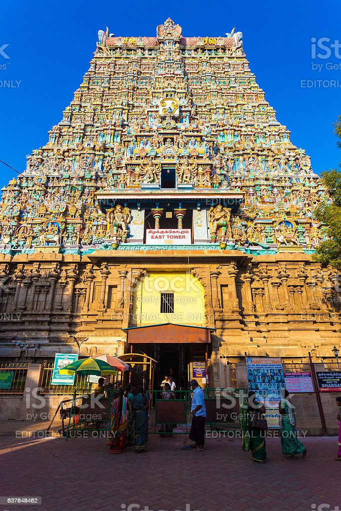 Madurai Meenakshi Amman Temple East Tower Gateway stock photo