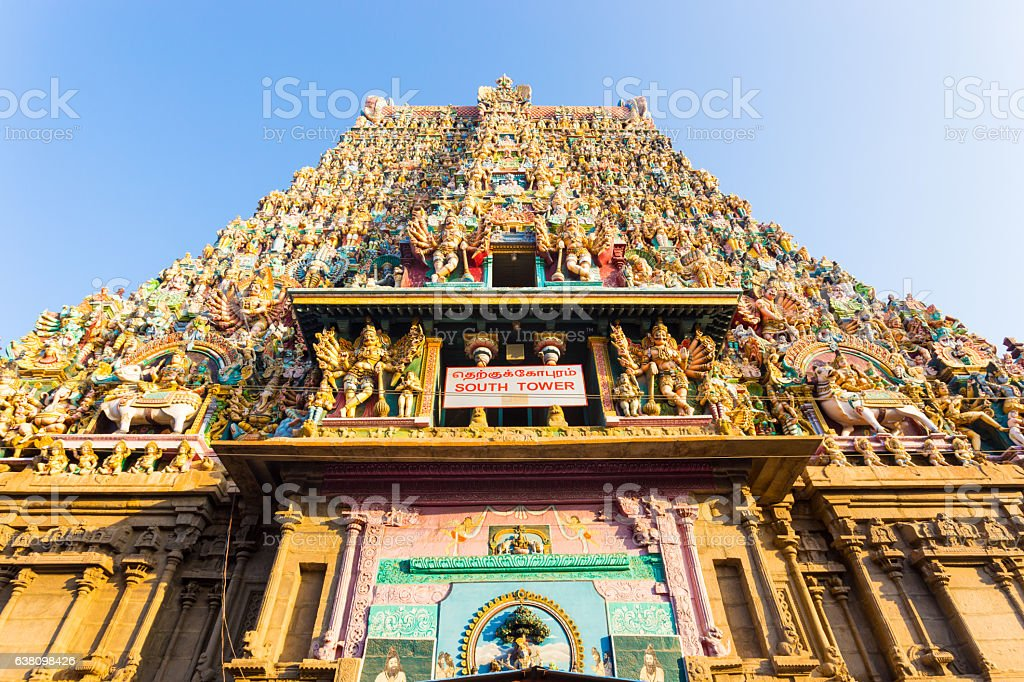 Madurai Meenakshi Amman Temple South Tower Gateway stock photo