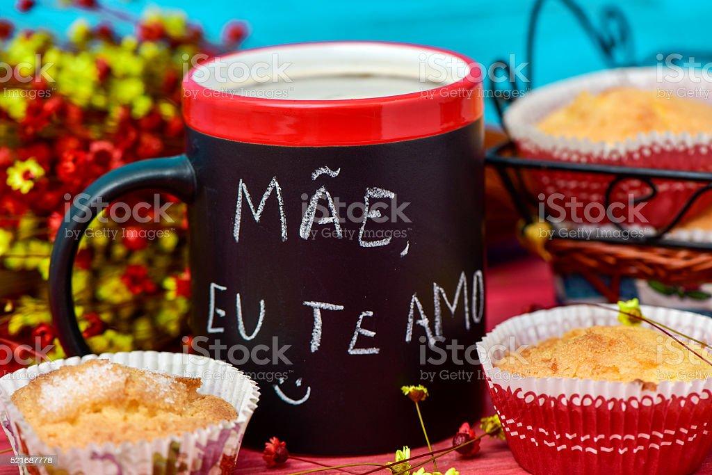 mae eu te amo, I love you mom in portuguese stock photo