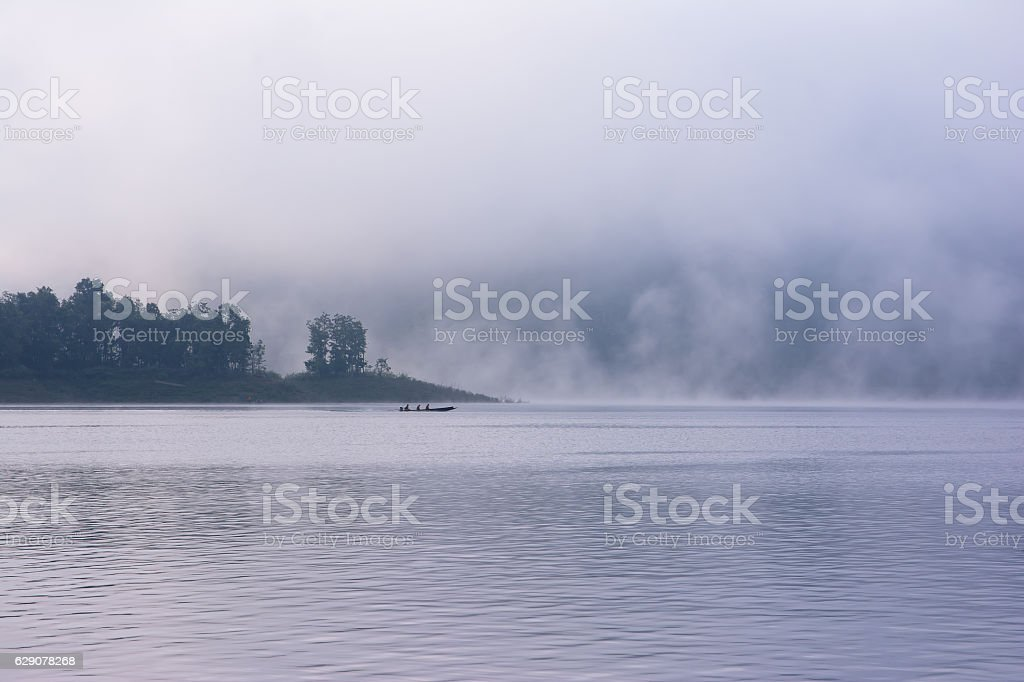 Mae Ngad Dam and Reservoir in the morning stock photo