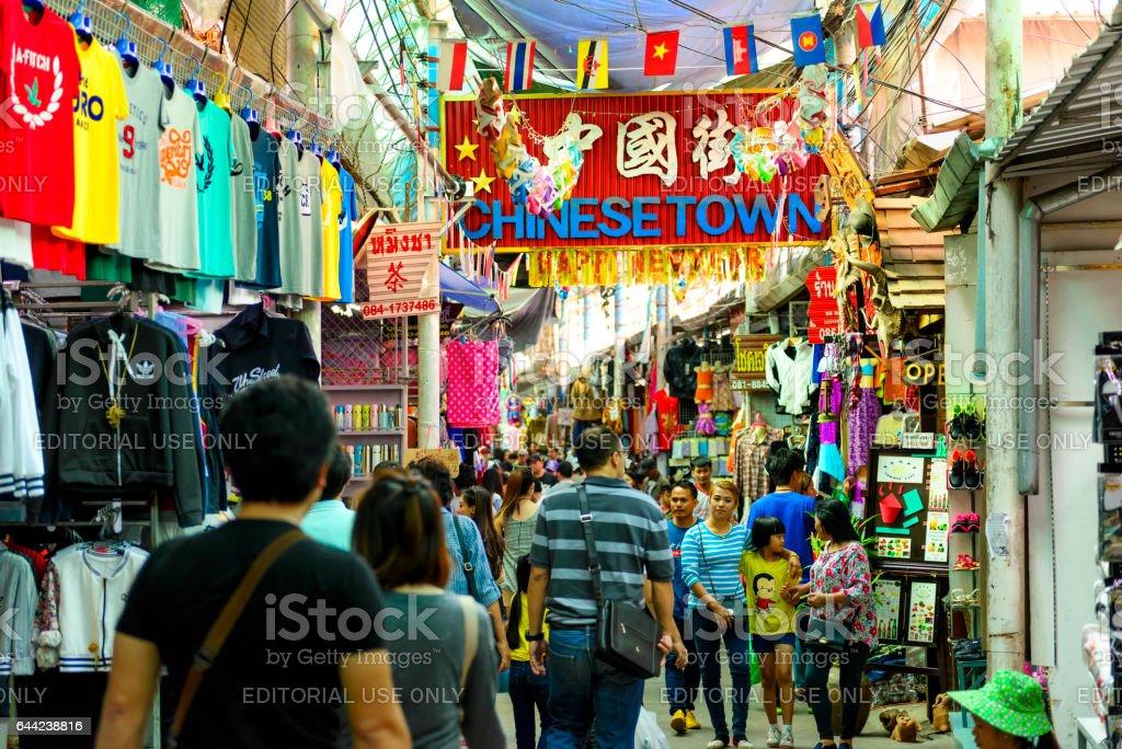 Mae Sai street market at Chiang Rai Thailand. stock photo