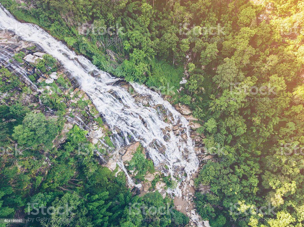 Mae Ya Waterfall from Aerial View stock photo