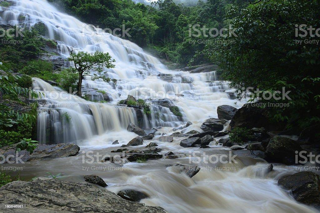 Mae Ya waterfall is bigest waterfal in Chiang Mai royalty-free stock photo