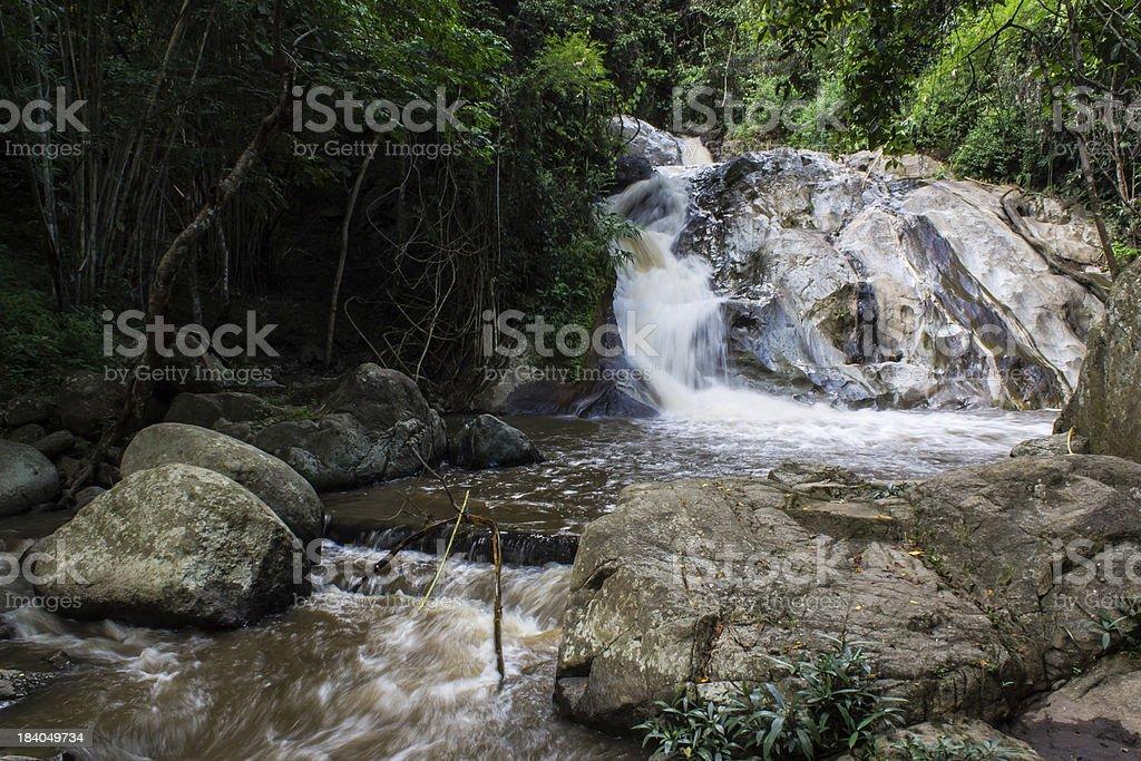 Maekad Waterfall In wianghaeng ,Chiangmai royalty-free stock photo