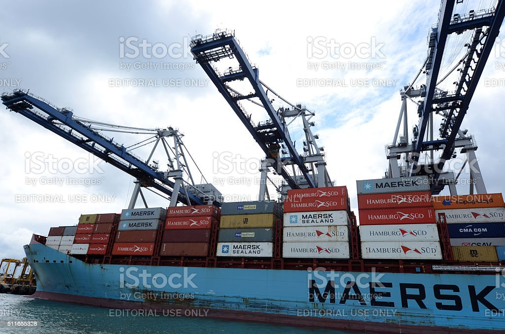 Maersk Line cargo ship unloading containers in Ports of Auckland stock photo
