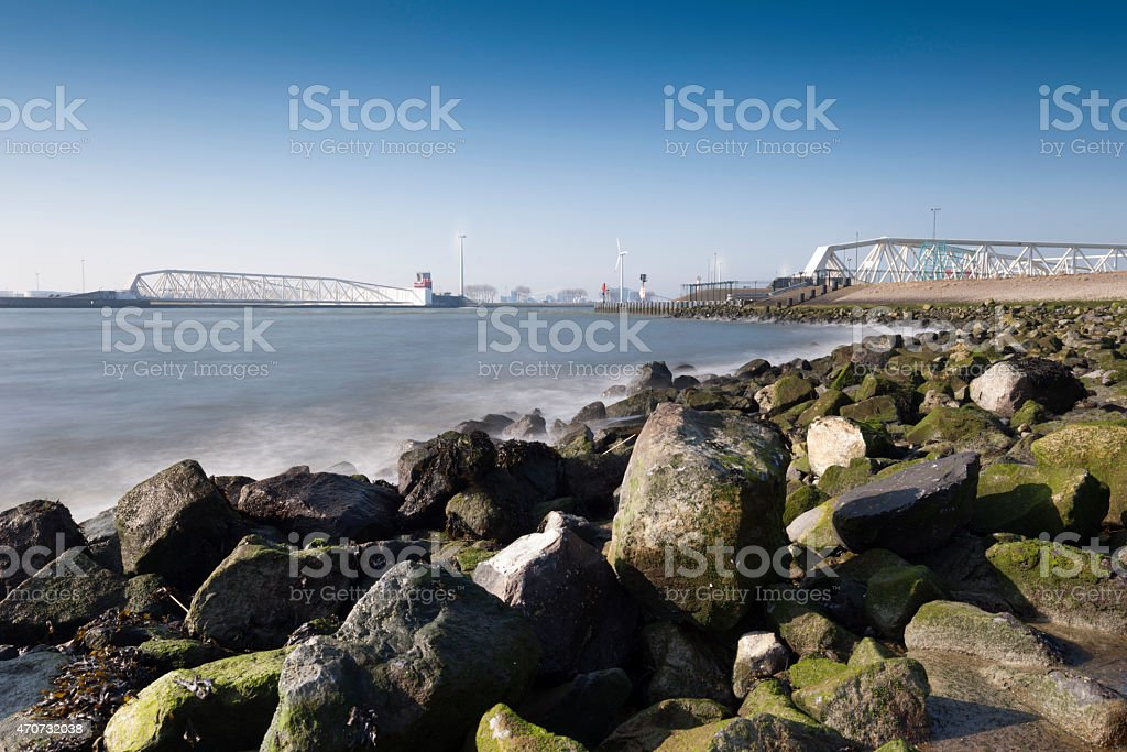 Maeslant Storm Surge Barrier near Rotterdam stock photo