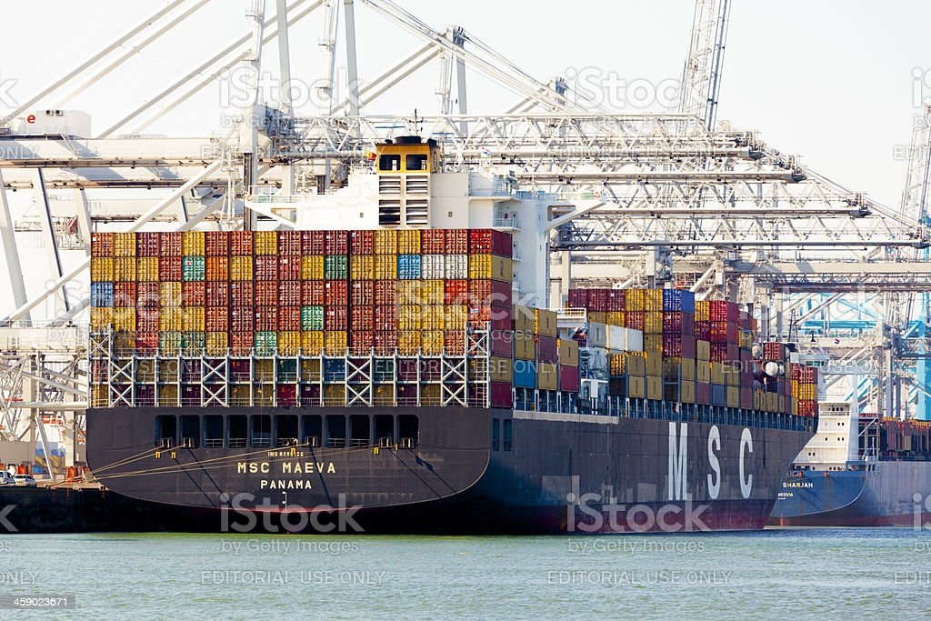 MSC Maeva in the Rotterdam harbour royalty-free stock photo