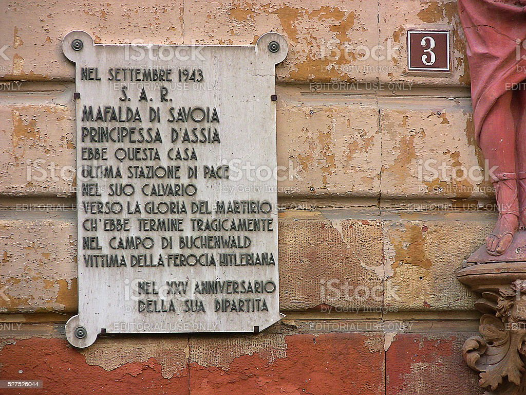 Mafalda of Savoy - plaque stock photo