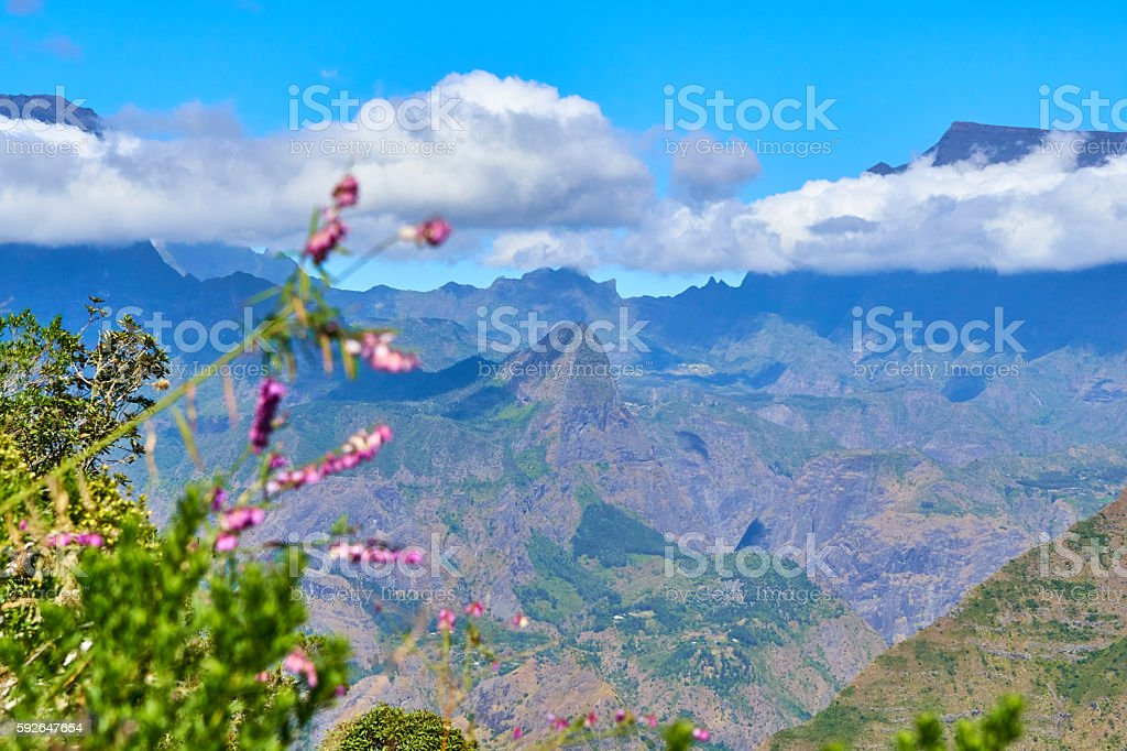Mafate cirque from Pointe Noire in Reunion island stock photo