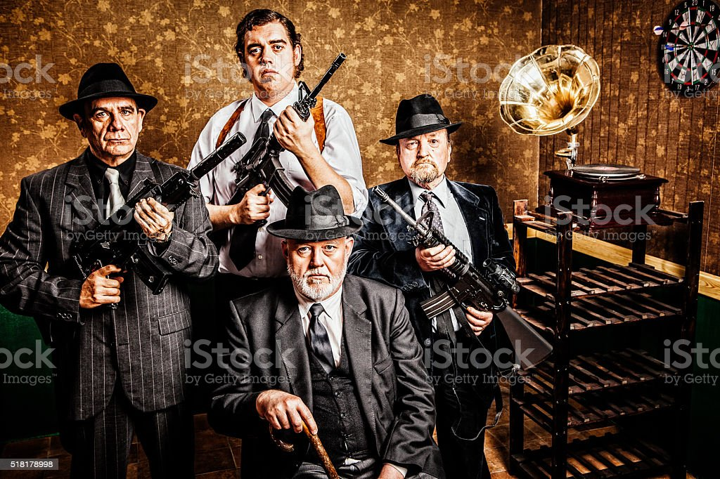 Mafia family, boss with sons stock photo