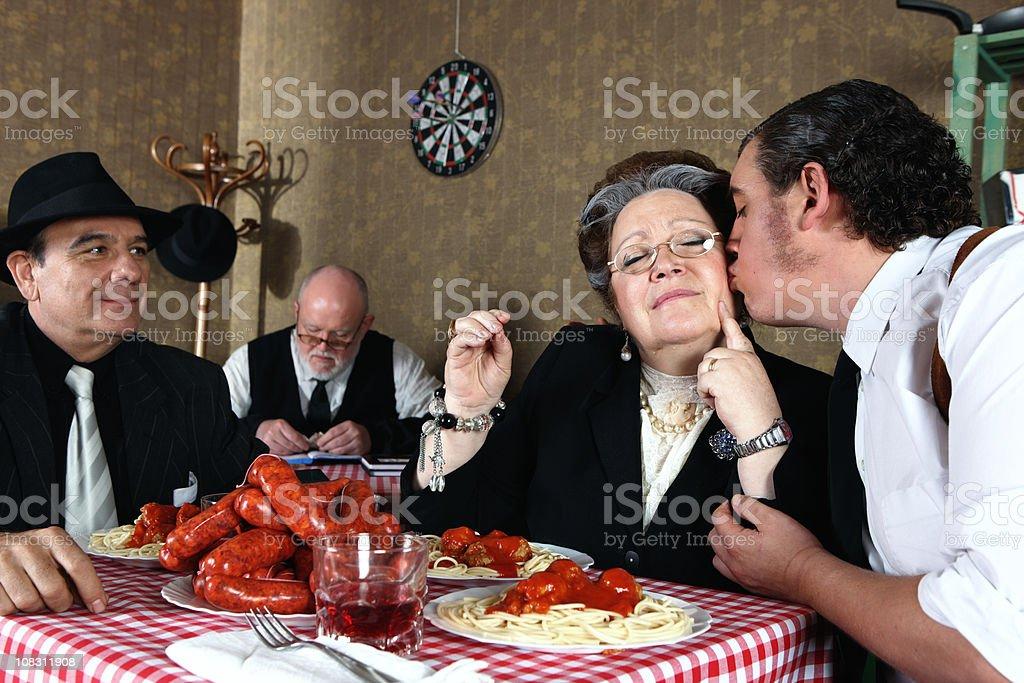 Mafia family dinner stock photo