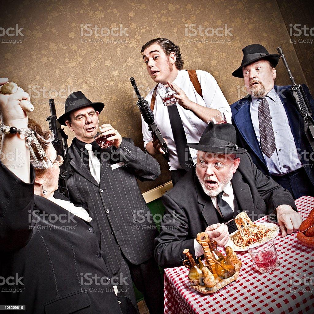 Mafia family, mama with roller pin stock photo