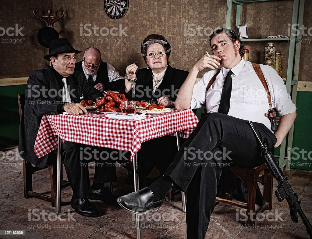 Mafia family stock photo