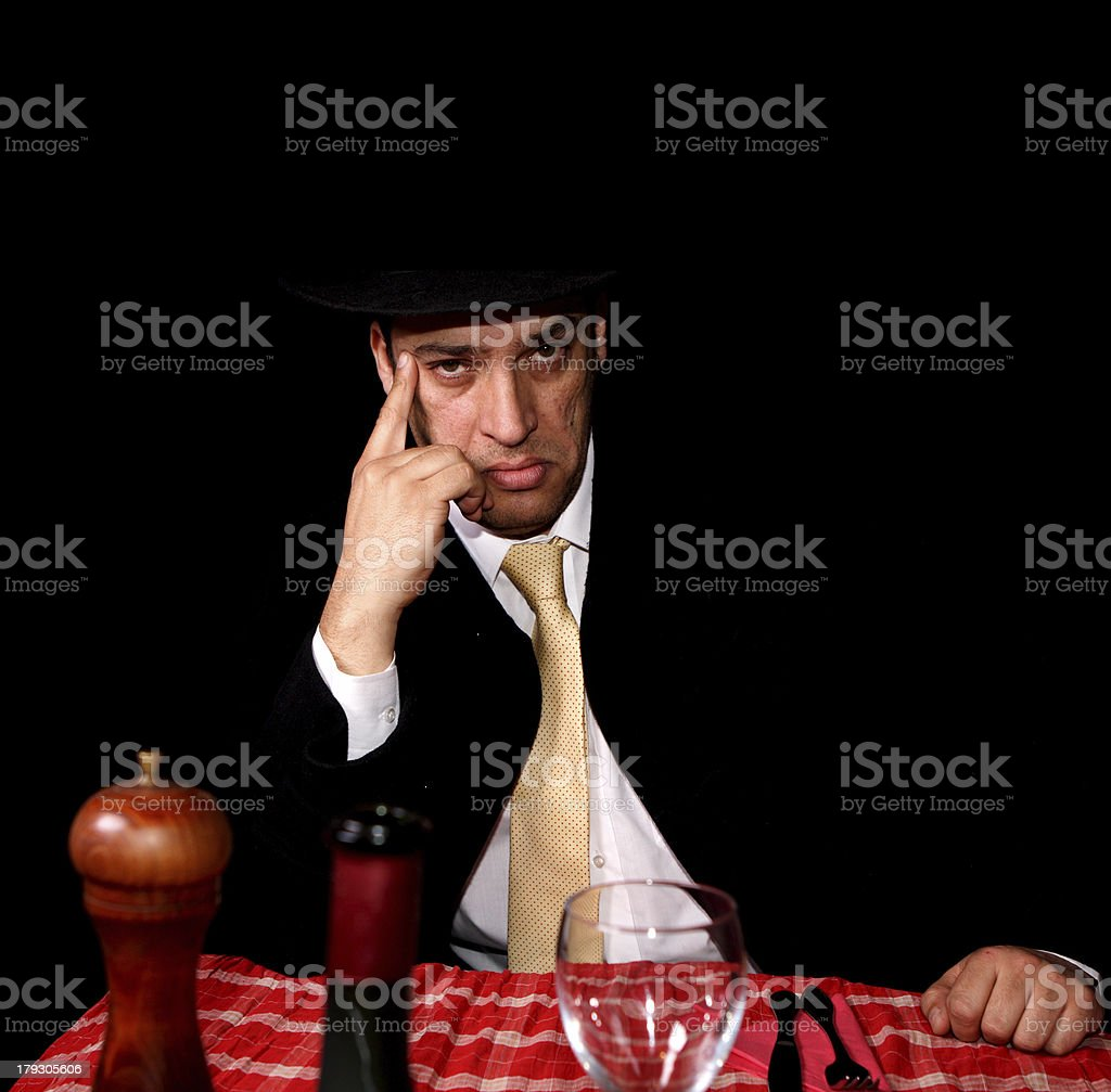 mafia man waiting for his lunch royalty-free stock photo