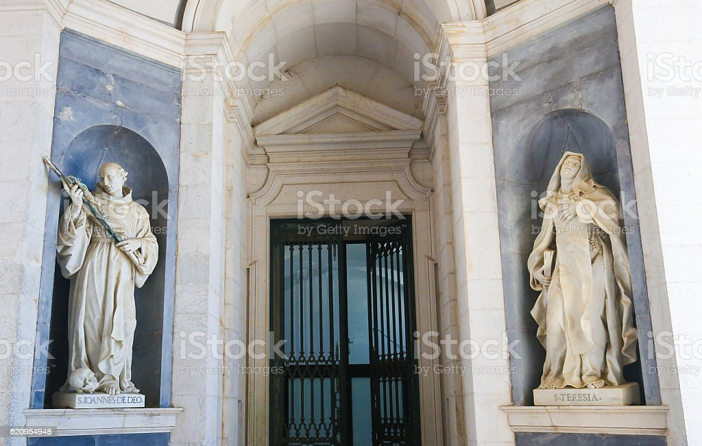 Mafra Palace - Statue of John of God and Theresia stock photo