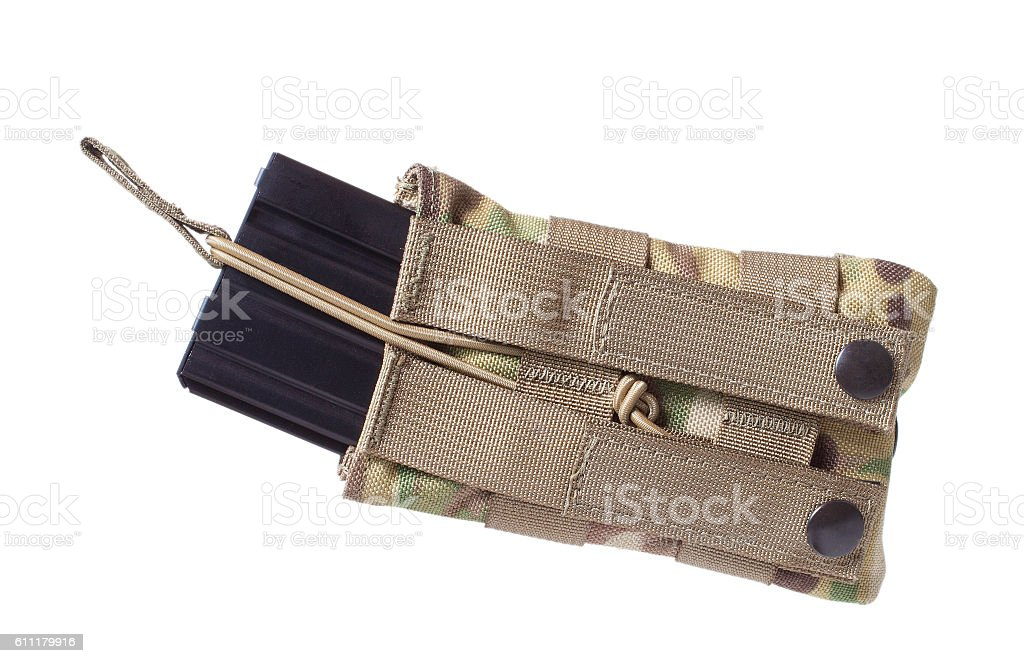 AR-15 magazine and pouch stock photo