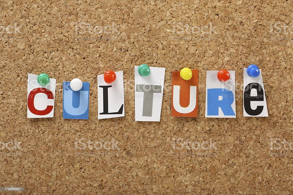 Magazine clipping letters spelling culture on a cork board royalty-free stock photo