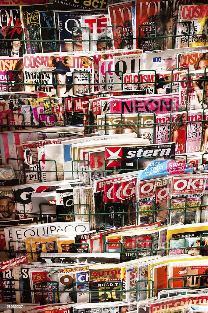 Magazine display Rack stock photo