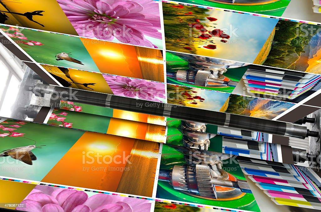 Magazine offset print production line stock photo