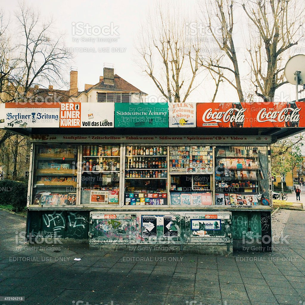 Magazine stand in eastern Berlin stock photo