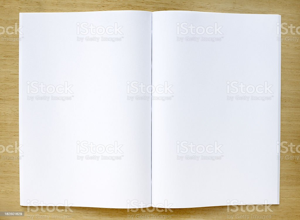 Magazine with blank pages on a table stock photo