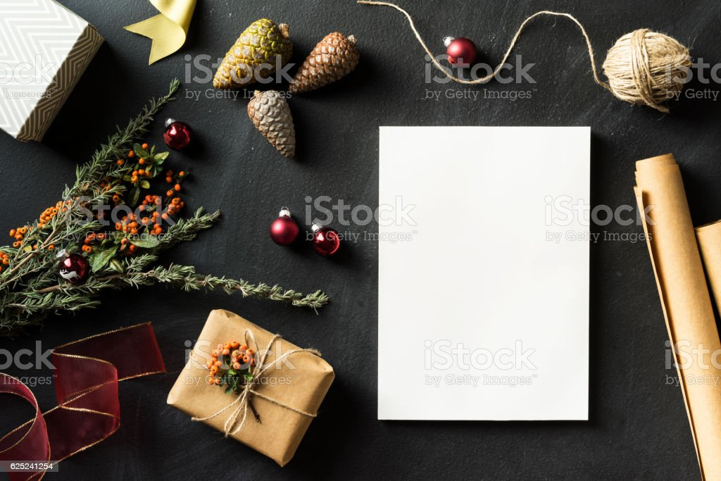 Magazine with blank white cover in Christmas concept flat lay stock photo
