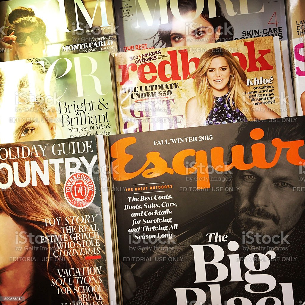 Magazines at a News Stand in NYC stock photo