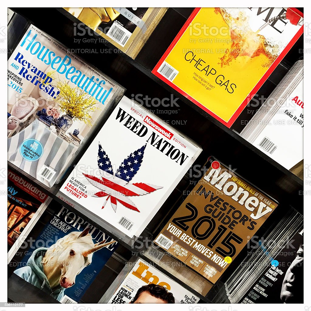 Magazines at News Stand stock photo