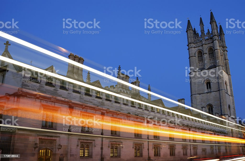 Magdalen College university building Oxford at night stock photo