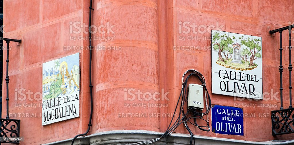 Magdalena and Olivar street signs stock photo