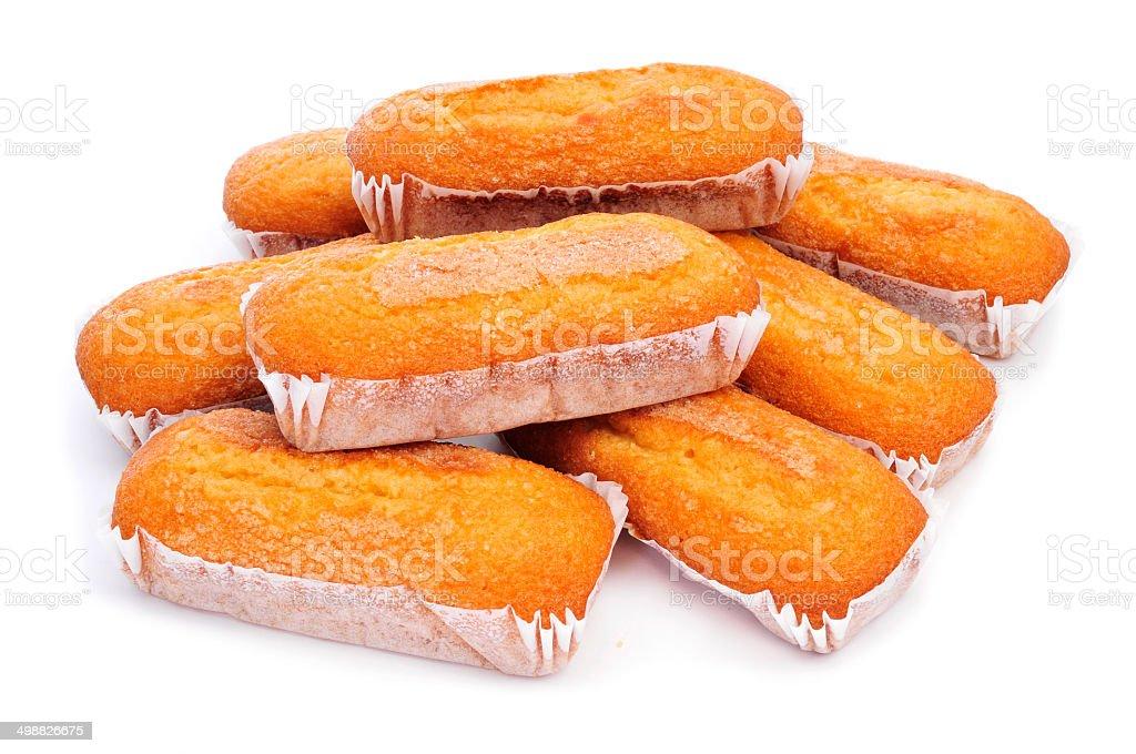 magdalenas largas, typical spanish plain muffins stock photo