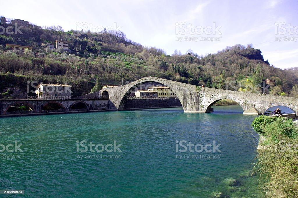 Magdalene bridge over Serchio river stock photo