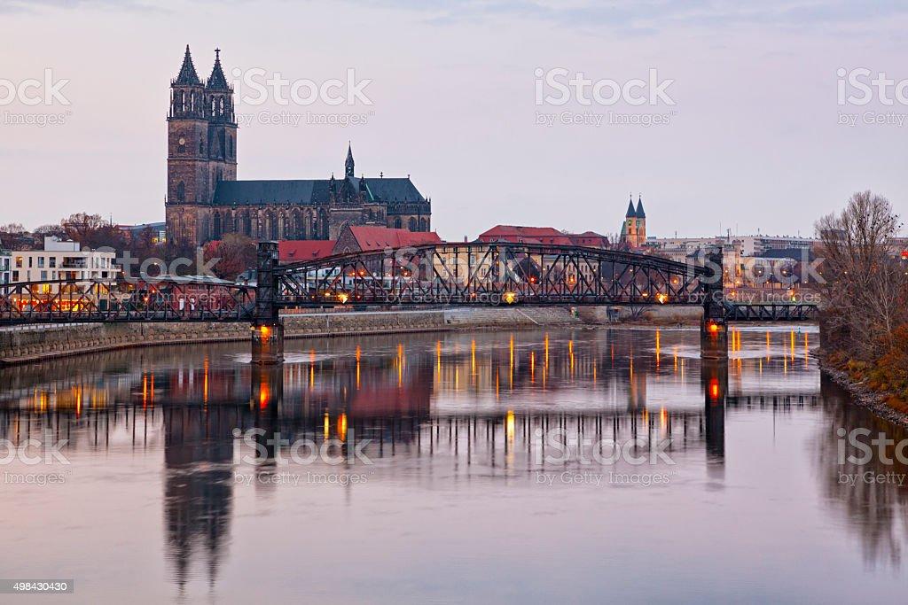 Magdeburg cathedral and lift bridge stock photo