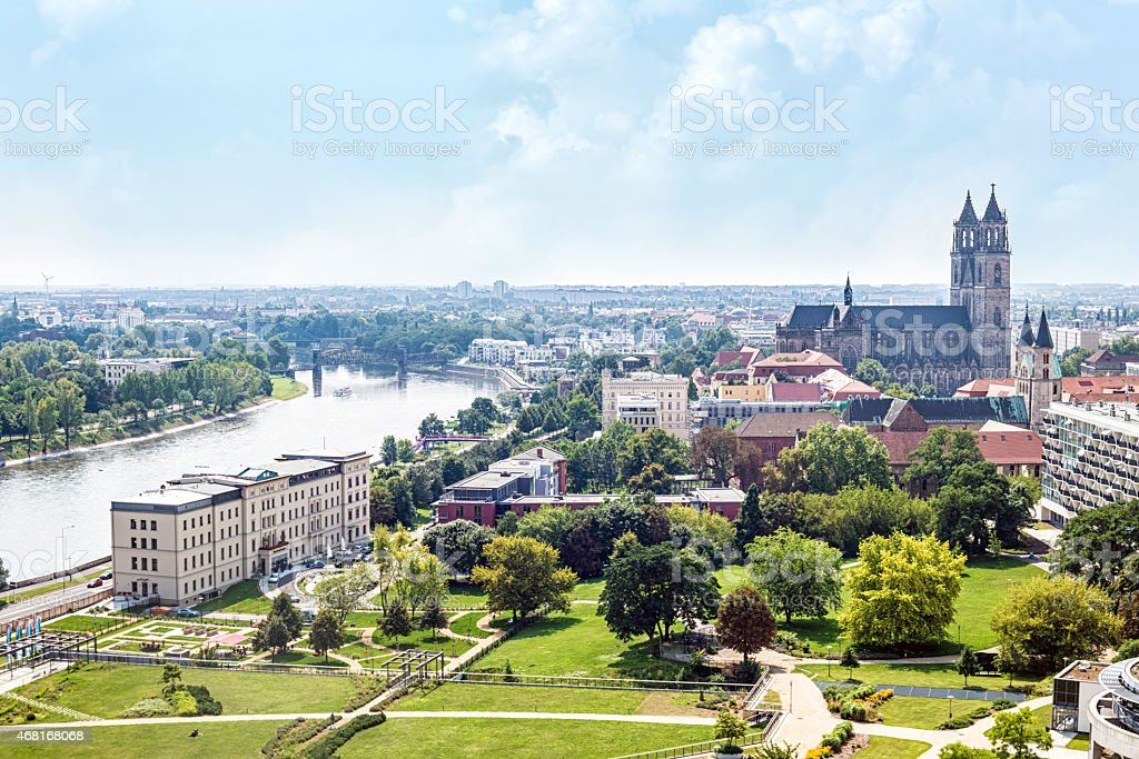Magdeburg Skyline stock photo