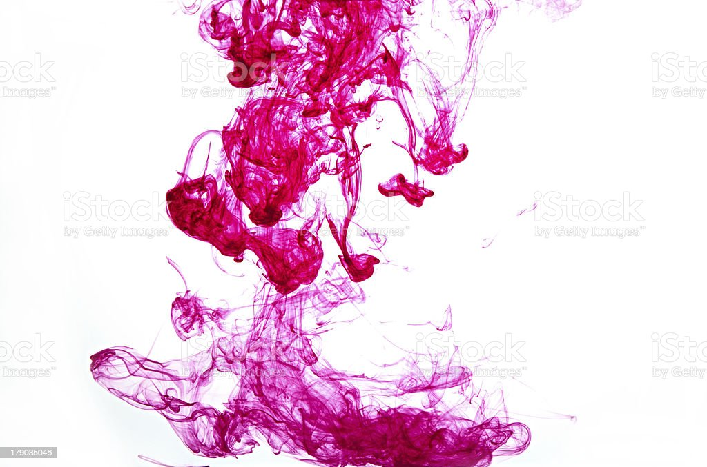 magenta ink in water royalty-free stock photo