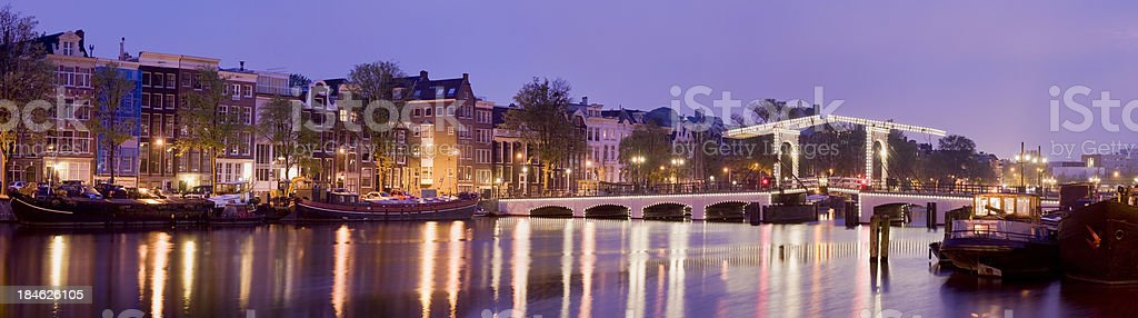 Magere Brug or Skinny Bridge in Amsterdam Holland royalty-free stock photo